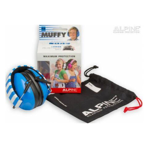 Alpine Muffy Gyermek hallásvédő fültok húzózsinóros táskával - kék