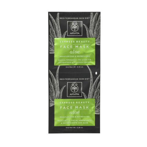 APIVITA Express hidratáló, frissítő arcmaszk - Aloe Verával 2x8 ml