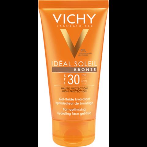 Vichy Idéal Soleil barnulást segítő, hidratáló napvédő gél-fluid arcra SPF 30 50 ml
