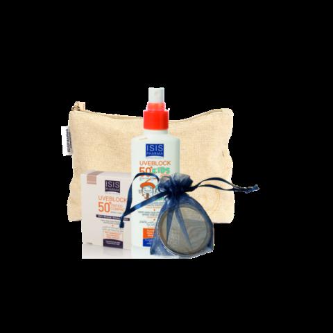 Isis Pharma Uveblock Kids SPF50 + Világos Kompakt Púder ajándék neszeszerrel és tükörrel