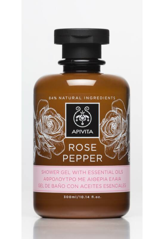 APIVITA Tusfürdő illóolajokkal, bőrfiatalító rózsával & borssal 300 ml