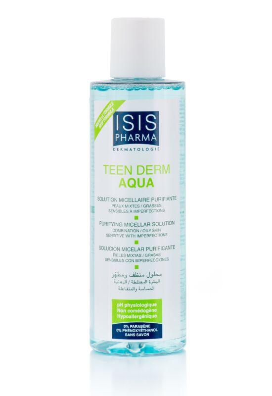 Isispharma Teen Derm Aqua Micellás lemosó, zsíros-mitesszers bőrre, 200 ml