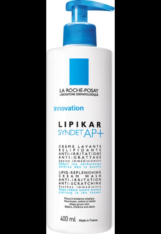 La Roche-Posay Lipikar Syndet AP+ lipidpótló krém-tusfürdő irritáció és viszketés ellen 400 ml